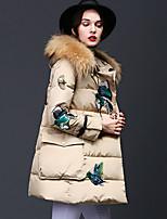 Standard Piumino Da donna,Cappotto Semplice Casual Ricamato Poliestere Cotone Manica lunga Con cappuccio Bianco / Nero