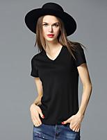 FRMZ  Women's Casual/Daily Simple Summer T-shirtSolid V Neck Short Sleeve White / Black Cotton / Spandex Medium