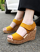 Women's Sandals Summer Suede Dress Wedge Heel Others Black Yellow Purple Almond Walking