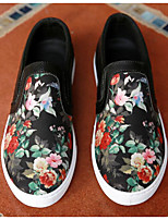 Men's Loafers & Slip-Ons Spring / Fall Closed Toe Microfibre Outdoor Flat Heel Animal Print Black Others
