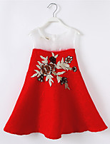 Girl's Casual/Daily Patchwork DressCotton / Polyester Summer / Spring Red
