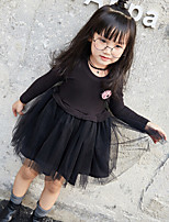 Girl's Casual/Daily Solid DressCotton / Rayon Spring / Fall Black / Red