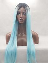 Fashion Long Straight Synthetic Lace Front Wig Glueless Black Light Bule Mixed Color For Afro Women Wigs
