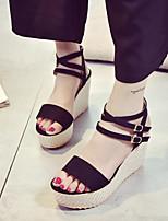 Women's Sandals Summer Platform PU Casual Wedge Heel Buckle Black / Gray Others