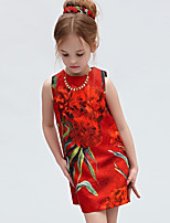 Girl's Casual/Daily Floral DressCotton Summer Black / Red