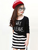 Girl's Casual/Daily Striped DressCotton Fall Black / White