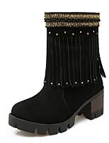Mujer-Tacón Robusto Plataforma-Plataforma Cowboy Botas de Nieve Botas de Equitación Botas a la Moda-Tacones-Boda Oficina y Trabajo
