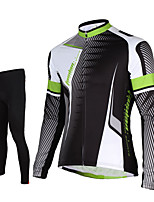 TASDAN® Cycling Jersey with Tights Men's Long Sleeve BikeBreathable / Quick Dry / Front Zipper / 3D Pad / Reflective Strips / Back Pocket