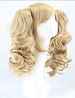 ponytails chaud perruque longue lolita chaleur perruques synthétiques ondulées résistantes bouclés blonds 2 queue de cheval perruque Anime