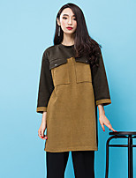 ROOM404  Women's Going out Street chic Shift DressColor Block Round Neck Above Knee Long Sleeve Brown