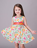 Girl's Casual/Daily Floral DressCotton / Polyester Summer / Spring Pink