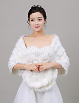 Women's Wrap Shawls Sleeveless Faux Fur Ivory / Red Wedding Off-the-shoulder 40cm Feathers / fur Open Front