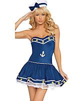 Costumes Uniformes Halloween Bleu Couleur Pleine Térylène Robe / Plus d'accessoires