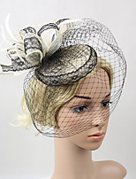Women's Feather / Net Headpiece-Wedding / Special Occasion Birdal Black-White Fascinators 1 Piece