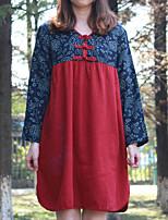 Tunique Robe Femme Décontracté / Quotidien Vintage,Fleur Col en V Mini Manches ¾ Rouge Coton / Lin Printemps / Automne Taille NormaleNon
