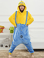 Unisex Cashmere / Polyester Cute Cartoon One-piece Pajama Winter Thick Sleepwear Multi-color