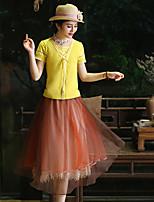 Tee-shirt Aux femmes,Couleur Pleine Sortie Vintage Eté Manches Courtes Col Arrondi Jaune Rayonne / Spandex Fin / Moyen