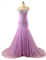 Formal Evening Dress Trumpet / Mermaid Sweetheart Court Train Organza with Beading / Pleats