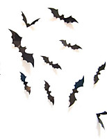 12Pcs Black 3D DIY PVC Halloween Bat Wall Sticker Decals Home Decor Decoration