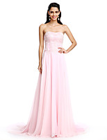 2017 TS Couture® Formal Evening Dress A-line Strapless Court Train Chiffon with Appliques / Beading
