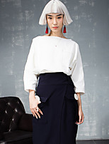 ROOM404  Women's Casual/Daily Simple Spring BlouseSolid Boat Neck Sleeve White Cotton Opaque
