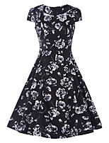 Women's Casual/Daily Vintage Sheath DressFloral Square Neck Knee-length Short Sleeve Black Cotton / Polyester Summer