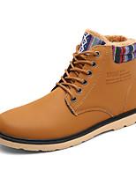 Men's Combat Boots Leatherette Outdoor Flat Heel Lace-up Black / Blue / Yellow Snow Boots EU39-43