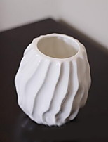 White Glaze Ceramic Flower Vase Creative Soft Decoration White Continental Vase For TV Cabinet (Smallest Size)
