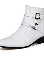 Men's Boots Spring / Fall Comfort PU Casual Flat Heel Slip-on Black / Brown / White Walking