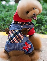 Dog Hoodie / Clothes/Jumpsuit Red / Green Dog Clothes Winter / Spring/Fall Plaid/Check Holiday / Fashion