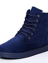 Черный / Синий / Серый / Хаки-Мужской-На каждый день-Дерматин-На плоской подошве-Теплая зимняя обувь-Ботинки