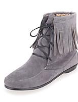 Women's Boots Comfort Leatherette Cross-Seasons Fall Casual Dress Walking Comfort Tassel Flat Heel Camel Ruby Gray Black Flat