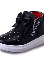 Girl's Sneakers Spring / Summer / Fall / Winter Comfort Leather Outdoor / Casual Shoes Zipper Black / Pink / Red Walking