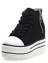 Homme-Extérieure / Bureau & Travail / Décontracté-Noir / Blanc-Talon PlatSneakers-Toile