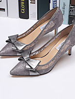 Women's Heels Spring Fall Tulle Casual Stiletto Heel Bowknot Black Gray Almond Others