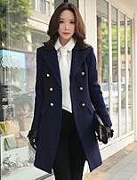 Mulheres Casaco Casual / Trabalho Vintage / Moda de Rua / Sofisticado Outono / Inverno,Sólido Azul Lã / Poliéster / ElastanoLapela