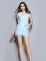 Women's Casual/Daily Simple Summer Set PantSolid Deep V Sleeveless Blue Polyester Opaque