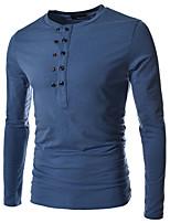 Herren T-shirt-Einfarbig Freizeit / Büro / Sport Baumwolle / Acryl Lang-Schwarz / Blau / Grün / Weiß / Grau