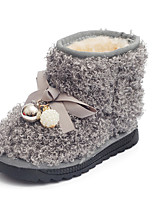 Girl's Boots Fall / Winter Fashion Boots Fleece Dress / Casual Flat Heel Bowknot Black / Red / Gray Walking