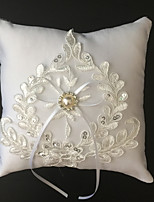 White 1 Ribbons / Rhinestones / Embroidery Satin
