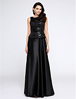 TS Couture® Formal Evening Dress A-line Scoop Floor-length Stretch Satin with Sequins