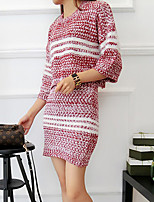 Women's Casual/Daily Simple Fall Set Skirt Suits,Striped Round Neck ¾ Sleeve Red / Black Cotton Opaque