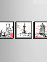 E-HOME® Framed Canvas Art, Urban Architectural Element Framed Canvas Print Set Of 3