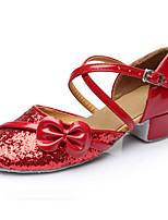 Women's Latin Paillette Leatherette Heels Beginner Sequin Low Heel Ruby Under 1