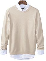 Men's Solid Casual PulloverWool / Cotton Long Sleeve Black / Orange / Red / Beige / Gray k262