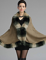 Women's Casual/Daily Street chic Cloak/CapesStriped Stand Sleeveless Winter Pink / Black / Yellow Faux Fur Thick