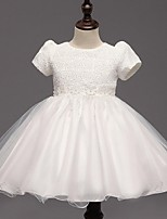 Ball Gown Knee-length Flower Girl Dress - Organza Short Sleeve Jewel with Bow(s)