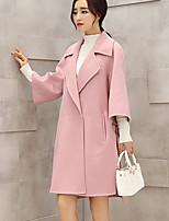 Mulheres Casaco Happy-Hour Moda de Rua Outono / Inverno,Sólido Rosa Cashmere / Poliéster Lapela Chanfrada-Manga Longa Grossa