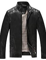 Men's Long Sleeve Work JacketRayon Solid Black / Brown
