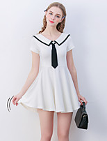Linjou Women'sA Line DressPatchwork Peter Pan Collar Above Knee Short Sleeve White Polyester Mid Rise Inelastic Medium